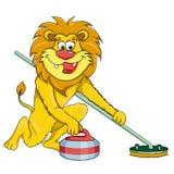 Ondulação do leão Estilo dos desenhos animados Imagem no fundo branco Fotos de Stock Royalty Free