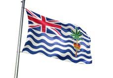 Ondulação indiana britânica da bandeira nacional do território isolada na ilustração 3d realística do fundo branco ilustração stock