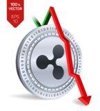 ondulación Caída Flecha roja abajo El grado del índice de la ondulación va abajo en mercado de intercambio Moneda Crypto 3D moned Fotografía de archivo