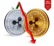 ondulación Caída Flecha roja abajo El grado del índice de la ondulación va abajo en mercado de intercambio Moneda Crypto de oro 3 Fotografía de archivo