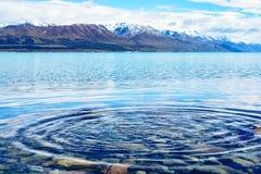 Ondulación en el lago Pukaki Fotografía de archivo