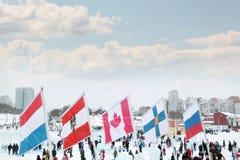 ONDULACIÓN PERMANENTE, RUSIA - 6 DE ENERO DE 2014: Banderas de países participantes Fotos de archivo libres de regalías