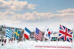 ONDULACIÓN PERMANENTE, RUSIA - 6 DE ENERO DE 2014: Banderas de países participantes de Foto de archivo