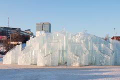 ONDULACIÓN PERMANENTE, RUSIA - 12 DE FEBRERO DE 2018: La ciudad del hielo de la ondulación permanente fue hecha para la FIFA 20 Imagen de archivo libre de regalías