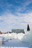 ONDULACIÓN PERMANENTE, Rusia, febrero, 06 2016: La ciudad helada del Año Nuevo en el Espl Fotografía de archivo libre de regalías