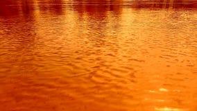 Ondulaciones en el agua, el viento Colores brillantes de la naranja, amarillos y rojos almacen de video