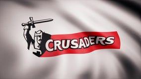 Ondulant dans le drapeau de vent avec le symbole de l'équipe de rugby les croisés Concept de sports Utilisation éditoriale seulem illustration libre de droits