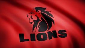 Ondulant dans le drapeau de vent avec le symbole de l'équipe de rugby les lions Concept de sports Utilisation éditoriale seulemen illustration de vecteur