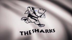 Ondulant dans le drapeau de vent avec le symbole de l'équipe de rugby les requins Concept de sports Utilisation éditoriale seulem illustration de vecteur