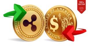 Ondulation au change du dollar ondulation Pièce de monnaie du dollar Cryptocurrency Pièces de monnaie d'or avec le symbole d'ondu Photographie stock libre de droits