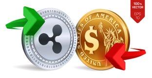 Ondulation au change du dollar ondulation Pièce de monnaie du dollar Cryptocurrency Pièces d'or et en argent avec l'esprit de sym Photos libres de droits