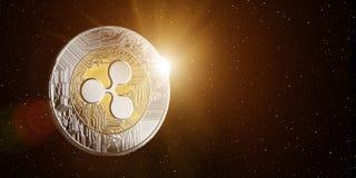 Ondulation dans l'espace avec le Soleil Levant derrière Images stock