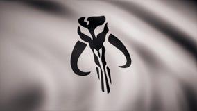 Ondulation dans le drapeau de vent avec le symbole de Mandalorians L'animation du drapeau du symbole de Mandalorians L'étoile illustration libre de droits