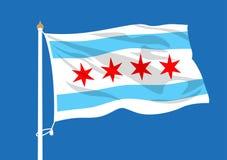 Ondulation de drapeau de Chicago illustration stock