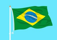Ondulation de drapeau du Brésil illustration stock