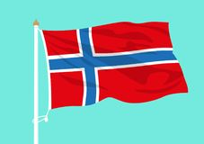 Ondulation de drapeau de la Norvège illustration stock