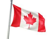 Ondulation de drapeau national de Canada d'isolement sur l'illustration 3d réaliste de fond blanc illustration stock
