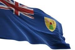 Ondulation de drapeau national des Îles Turques et Caïques d'isolement sur l'illustration blanche du fond 3d illustration stock