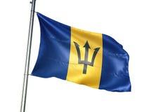Ondulation de drapeau national des Barbade d'isolement sur l'illustration 3d réaliste de fond blanc illustration libre de droits