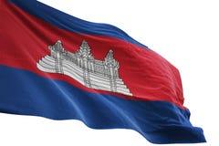 Ondulation de drapeau national du Cambodge d'isolement sur l'illustration blanche du fond 3d illustration libre de droits
