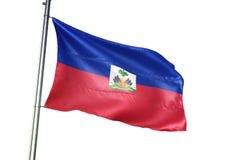 Ondulation de drapeau national du Haïti d'isolement sur l'illustration 3d réaliste de fond blanc illustration de vecteur