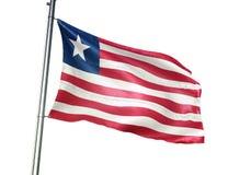 Ondulation de drapeau national du Libéria d'isolement sur l'illustration 3d réaliste de fond blanc illustration libre de droits
