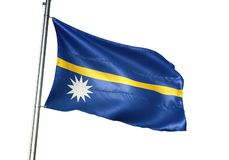 Ondulation de drapeau national du Nauru d'isolement sur l'illustration 3d réaliste de fond blanc illustration de vecteur