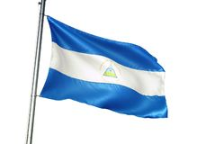 Ondulation de drapeau national du Nicaragua d'isolement sur l'illustration 3d réaliste de fond blanc illustration stock