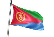 Ondulation de drapeau national de l'Érythrée d'isolement sur l'illustration 3d réaliste de fond blanc illustration libre de droits