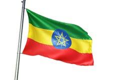 Ondulation de drapeau national de l'Ethiopie d'isolement sur l'illustration 3d réaliste de fond blanc illustration de vecteur