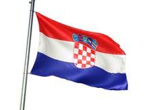 Ondulation de drapeau national de la Croatie d'isolement sur l'illustration 3d réaliste de fond blanc illustration libre de droits