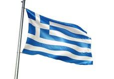 Ondulation de drapeau national de la Grèce d'isolement sur l'illustration 3d réaliste de fond blanc illustration stock