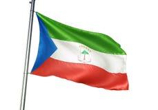 Ondulation de drapeau national de la Guinée équatoriale d'isolement sur l'illustration 3d réaliste de fond blanc illustration de vecteur