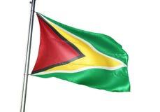 Ondulation de drapeau national de la Guyane d'isolement sur l'illustration 3d réaliste de fond blanc illustration stock
