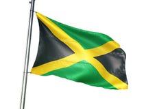 Ondulation de drapeau national de la Jamaïque d'isolement sur l'illustration 3d réaliste de fond blanc illustration libre de droits