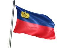 Ondulation de drapeau national de la Liechtenstein d'isolement sur l'illustration 3d réaliste de fond blanc illustration de vecteur