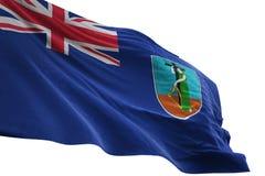 Ondulation de drapeau national de Montserrat d'isolement sur l'illustration blanche du fond 3d illustration stock