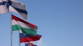 Ondulation de drapeaux de pays de l'Union Européenne banque de vidéos
