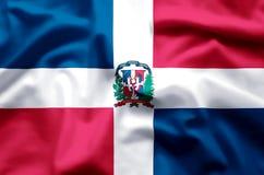 Ondulation de la République Dominicaine et illustration colorées de drapeau de plan rapproché illustration stock