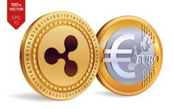 ondulation Euro pièce de monnaie pièces de monnaie 3D physiques isométriques Devise de Digital Cryptocurrency Pièces de monnaie d Images libres de droits