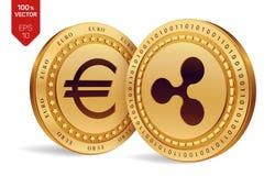 ondulation Euro pièce de monnaie pièces de monnaie 3D physiques isométriques Devise de Digital Cryptocurrency Pièces de monnaie d Image stock