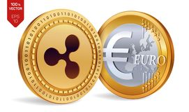 ondulation Euro pièce de monnaie pièces de monnaie 3D physiques isométriques Devise de Digital Cryptocurrency Pièces de monnaie d Images stock