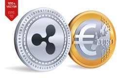 ondulation Euro pièce de monnaie pièces de monnaie 3D physiques isométriques Devise de Digital Cryptocurrency Pièces d'or et en a Image stock