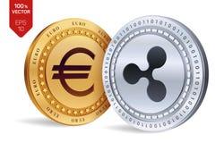 ondulation Euro pièce de monnaie pièces de monnaie 3D physiques isométriques Devise de Digital Cryptocurrency Pièces d'or et en a Image libre de droits