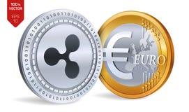 ondulation Euro pièce de monnaie pièces de monnaie 3D physiques isométriques Devise de Digital Cryptocurrency Pièces d'or et en a Photographie stock libre de droits