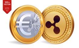 ondulation Euro pièces de monnaie 3D physiques isométriques Devise de Digital Cryptocurrency Pièces de monnaie d'or avec le symbo Images libres de droits
