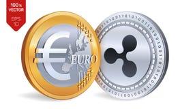 ondulation Euro pièces de monnaie 3D physiques isométriques Devise de Digital Cryptocurrency Pièces d'or et en argent avec le sym Photos libres de droits