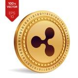 ondulation pièce de monnaie 3D physique isométrique Devise de Digital Cryptocurrency Pièce de monnaie d'or avec le symbole d'ondu Photos stock