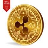 ondulation pièce de monnaie 3D physique isométrique Devise de Digital Cryptocurrency Pièce de monnaie d'or avec le symbole d'ondu Photo stock