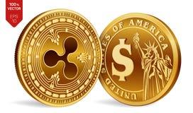 ondulation Pièce de monnaie du dollar pièces de monnaie 3D physiques isométriques Devise de Digital Cryptocurrency Pièces de monn Images stock